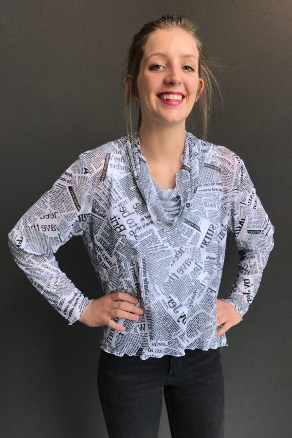 newspaper print mesh tunic