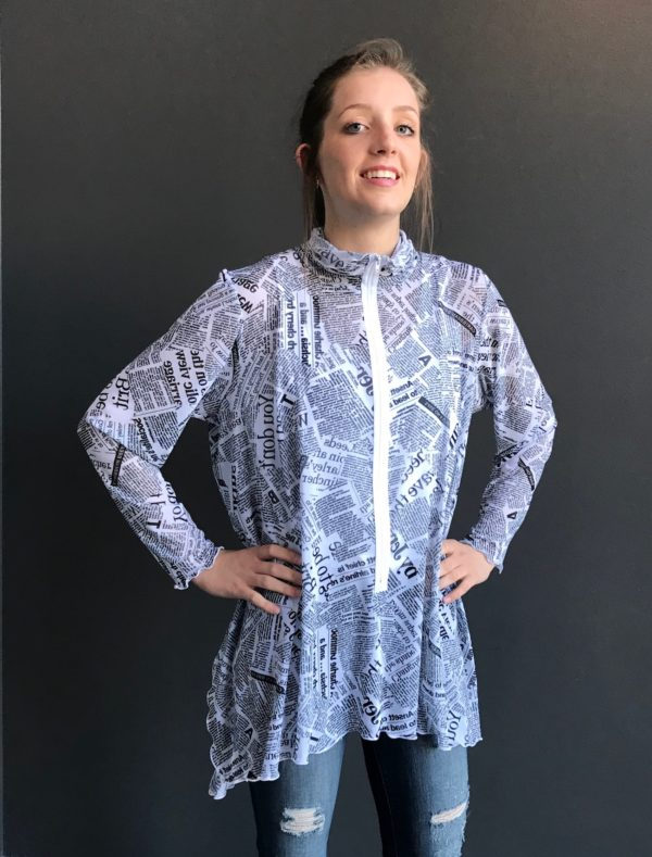 zippered tunic newspaper print
