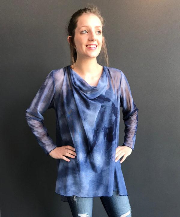 Navy tie dye mesh tunic