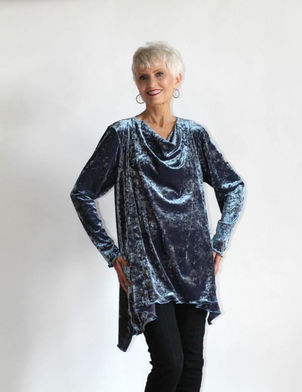 women's velvet shirt in blue