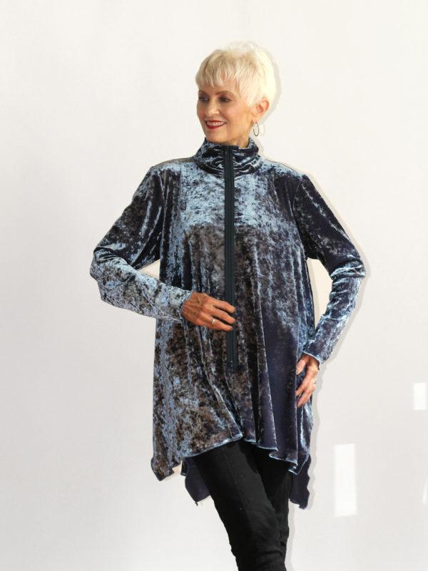 blue velvet women's shirt
