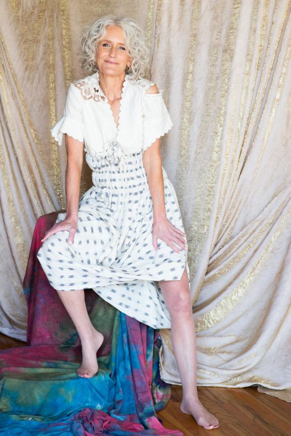 Summer dress incorporating vintage textiles